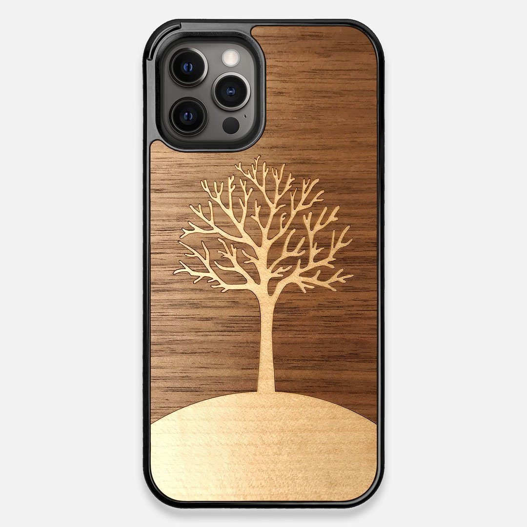Front view of the Tree Of Life Walnut Wood iPhone 12 Pro Max Case by Keyway Designs