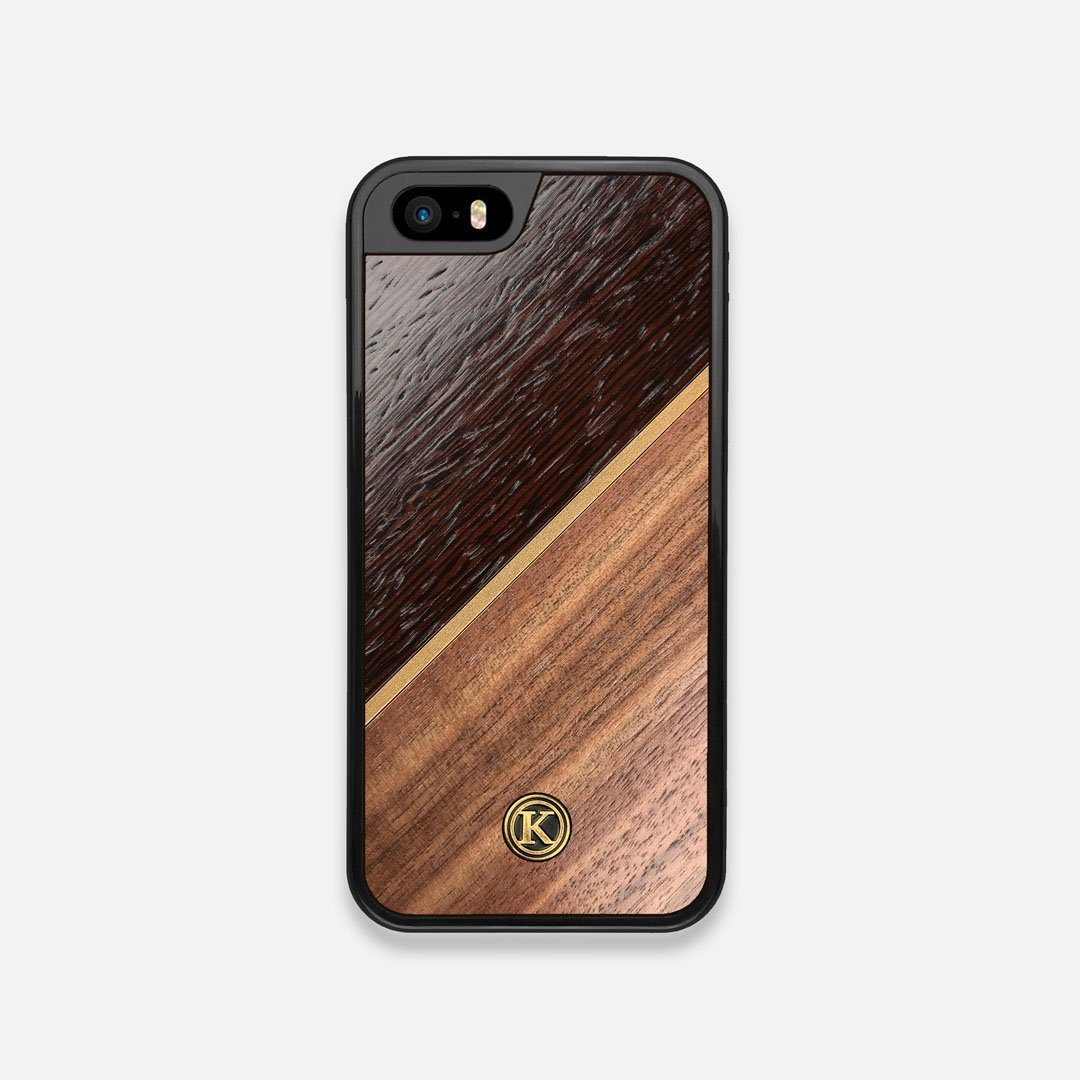 Front view of the Alium Walnut, Gold, and Wenge Elegant Wood iPhone 5 Case by Keyway Designs