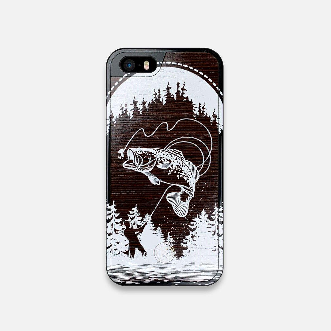 Front view of the high-contrast spotted bass printed Wenge Wood iPhone 5 Case by Keyway Designs