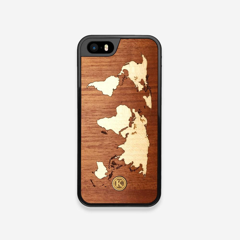 Front view of the Atlas Sapele Wood iPhone 5 Case by Keyway Designs