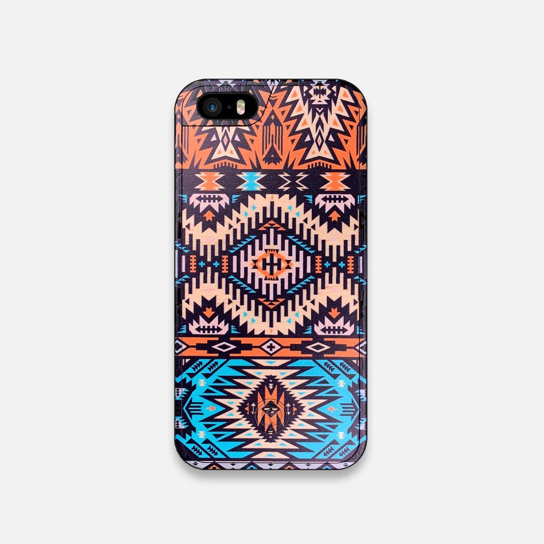 Front view of the vibrant Aztec printed Maple Wood iPhone 5 Case by Keyway Designs