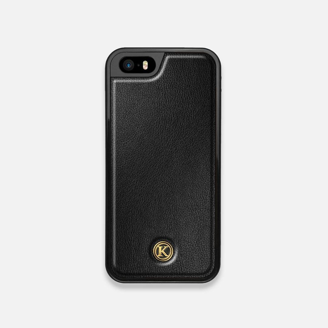 Front view of the Blank Black Leather iPhone 5 Case by Keyway Designs