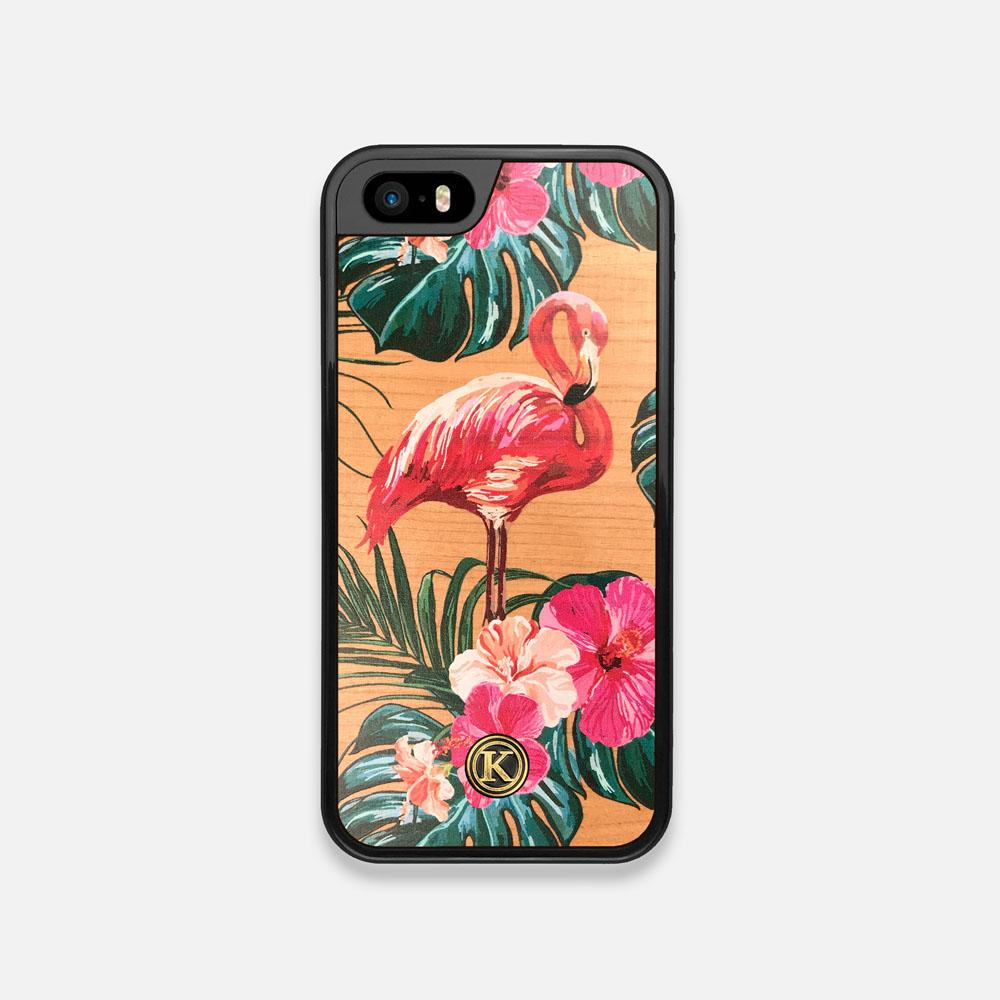 Front view of the Flamingo & Floral printed Cherry Wood iPhone 5 Case by Keyway Designs