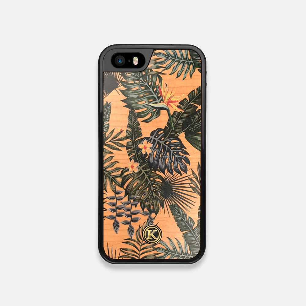 Front view of the Floral tropical leaf printed Cherry Wood iPhone 5 Case by Keyway Designs