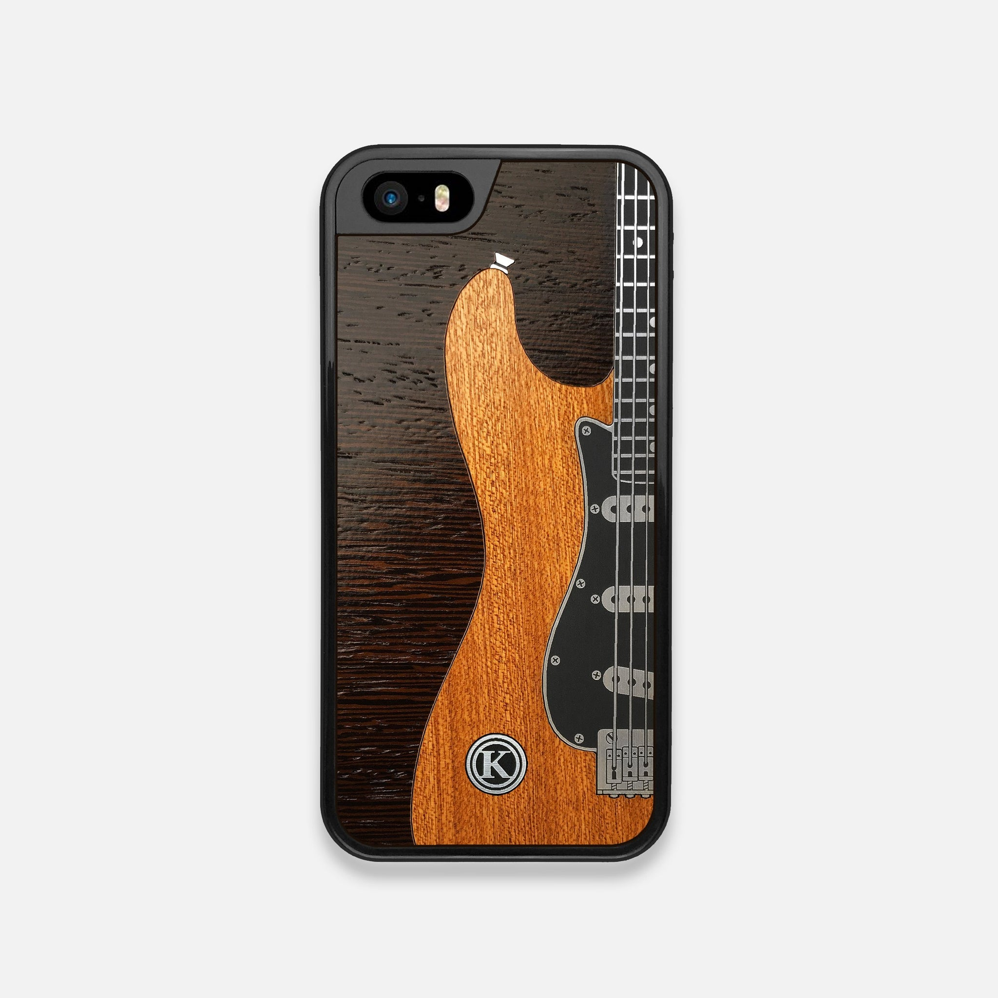 Front view of the Reverb Guitar Wood and Metallic  iPhone 5 Case by Keyway Designs