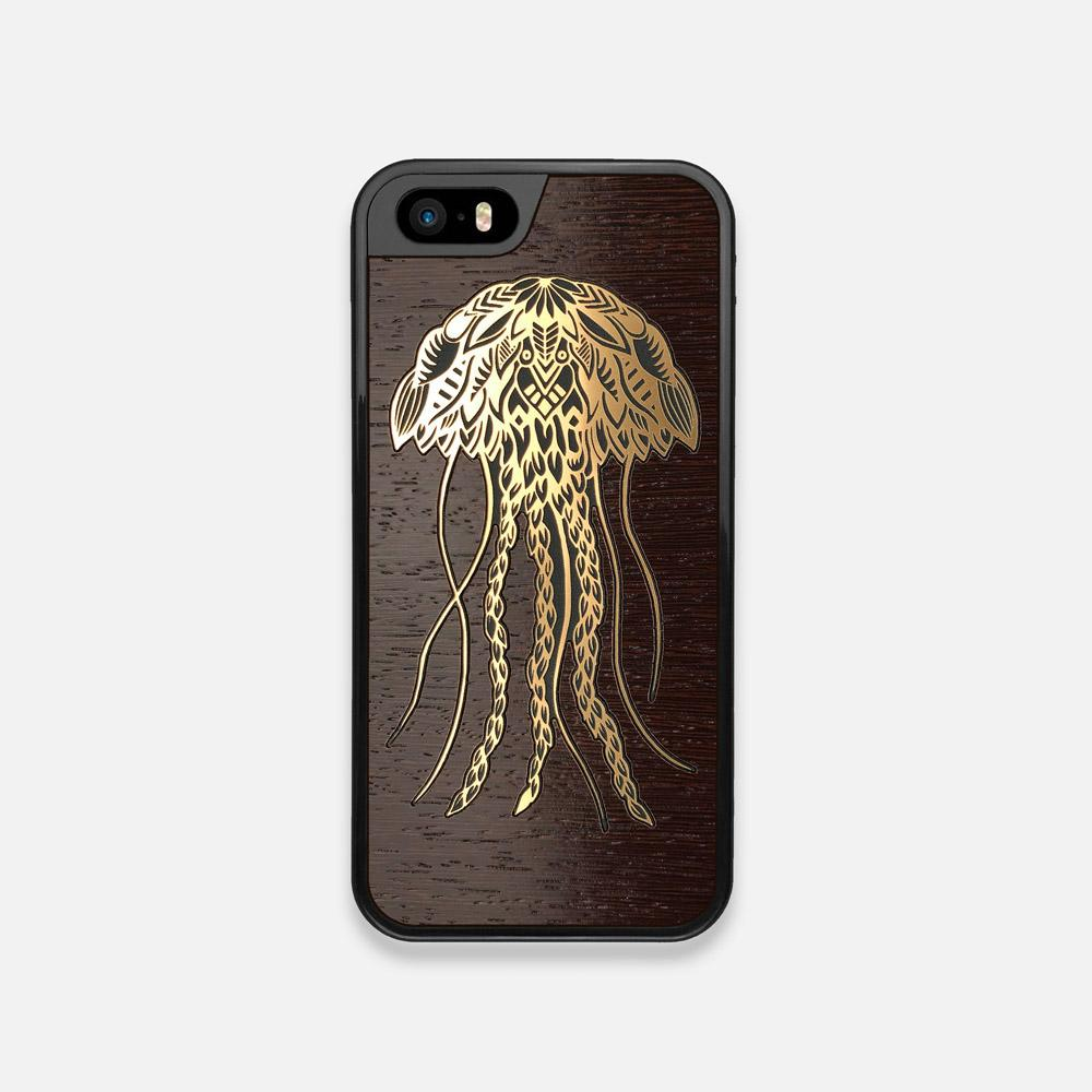 Front view of the Jellyfish by Pavneet Sembhi Gold Wenge Wood iPhone 5 Case by Keyway Designs