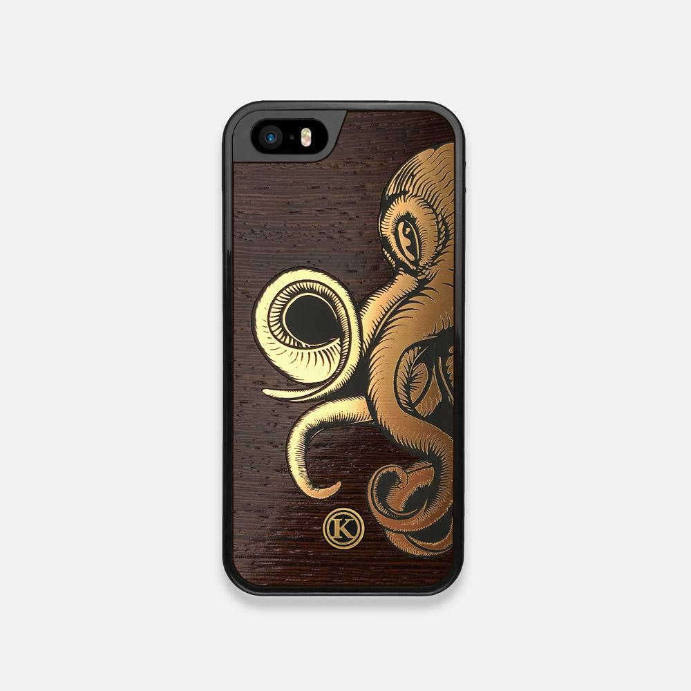 Front view of the Kraken 2.0 Wenge Wood iPhone 5 Case by Keyway Designs