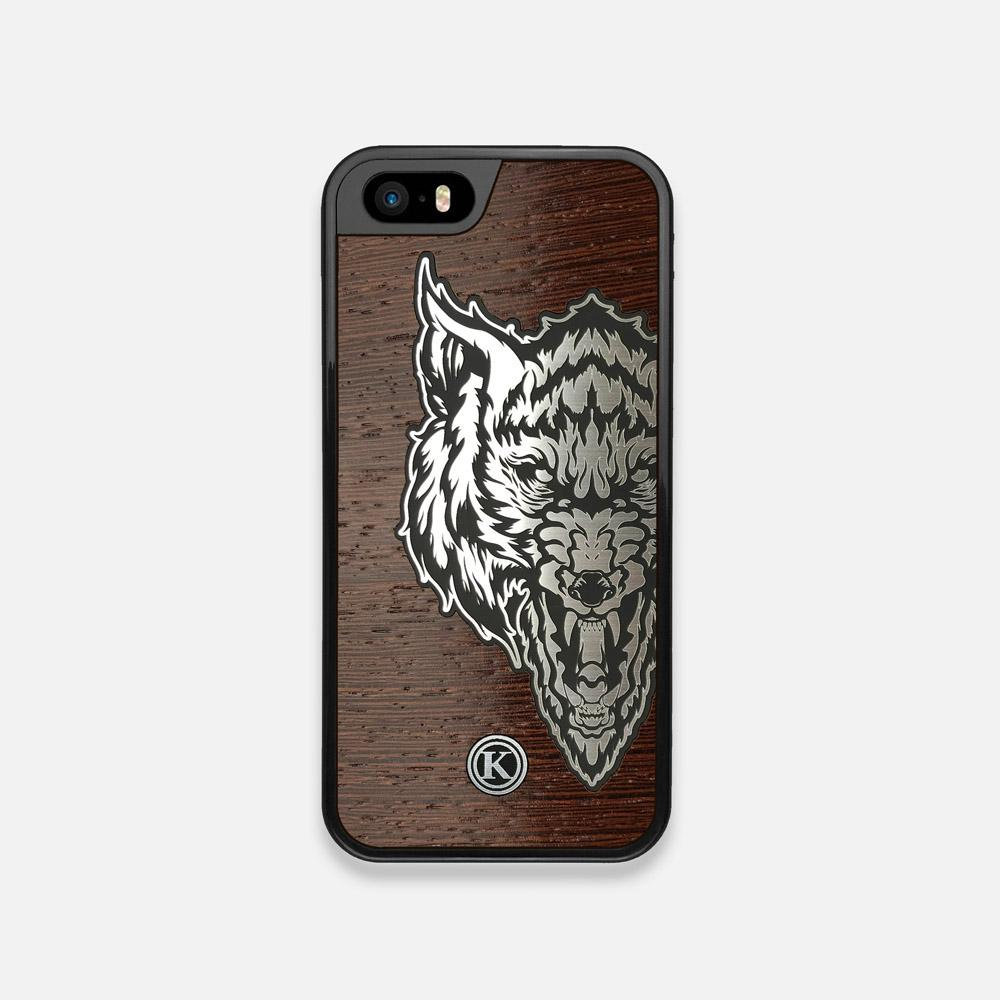 Front view of the Lobo Dark By Orozco Design Wenge Wood iPhone 5 Case by Keyway Designs