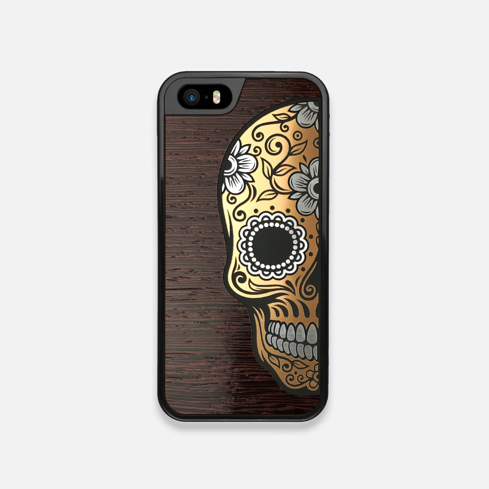 Front view of the Calavera Wood Sugar Skull Wood iPhone 5 Case by Keyway Designs