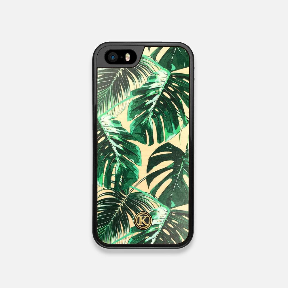 Front view of the Palm leaf printed Maple Wood iPhone 5 Case by Keyway Designs