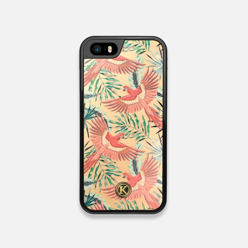 Front view of the Paradise Macaw and Tropical Leaf printed Maple Wood iPhone 5 Case by Keyway Designs