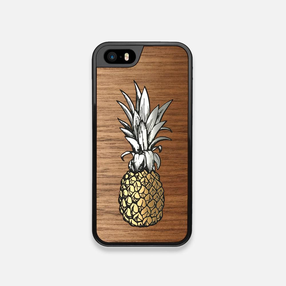 Front view of the Pineapple Walnut Wood iPhone 5 Case by Keyway Designs