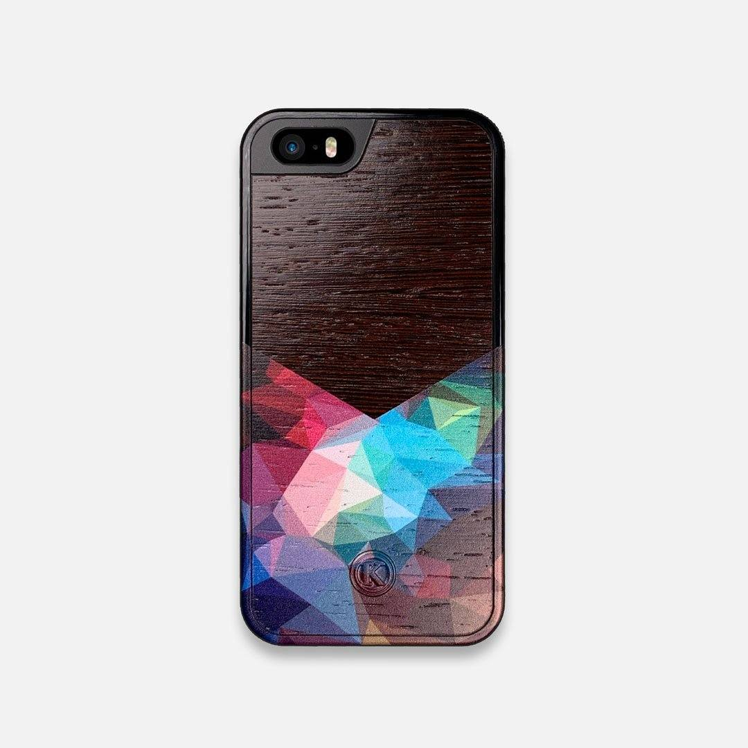 Front view of the vibrant Geometric Gradient printed Wenge Wood iPhone 5 Case by Keyway Designs