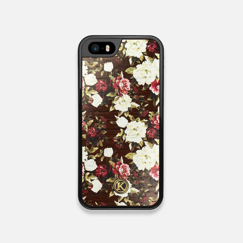 Front view of the Rose white and red rose printed Wenge Wood iPhone 5 Case by Keyway Designs