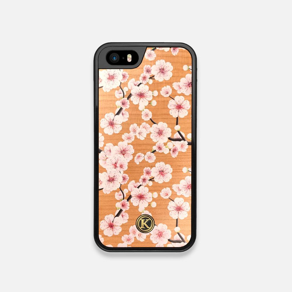 Front view of the Sakura Printed Cherry-blossom Cherry Wood iPhone 5 Case by Keyway Designs