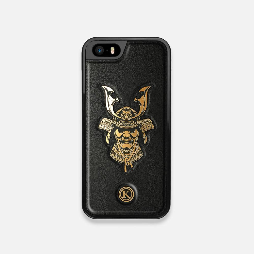 Front view of the Samurai Black Leather iPhone 5 Case by Keyway Designs