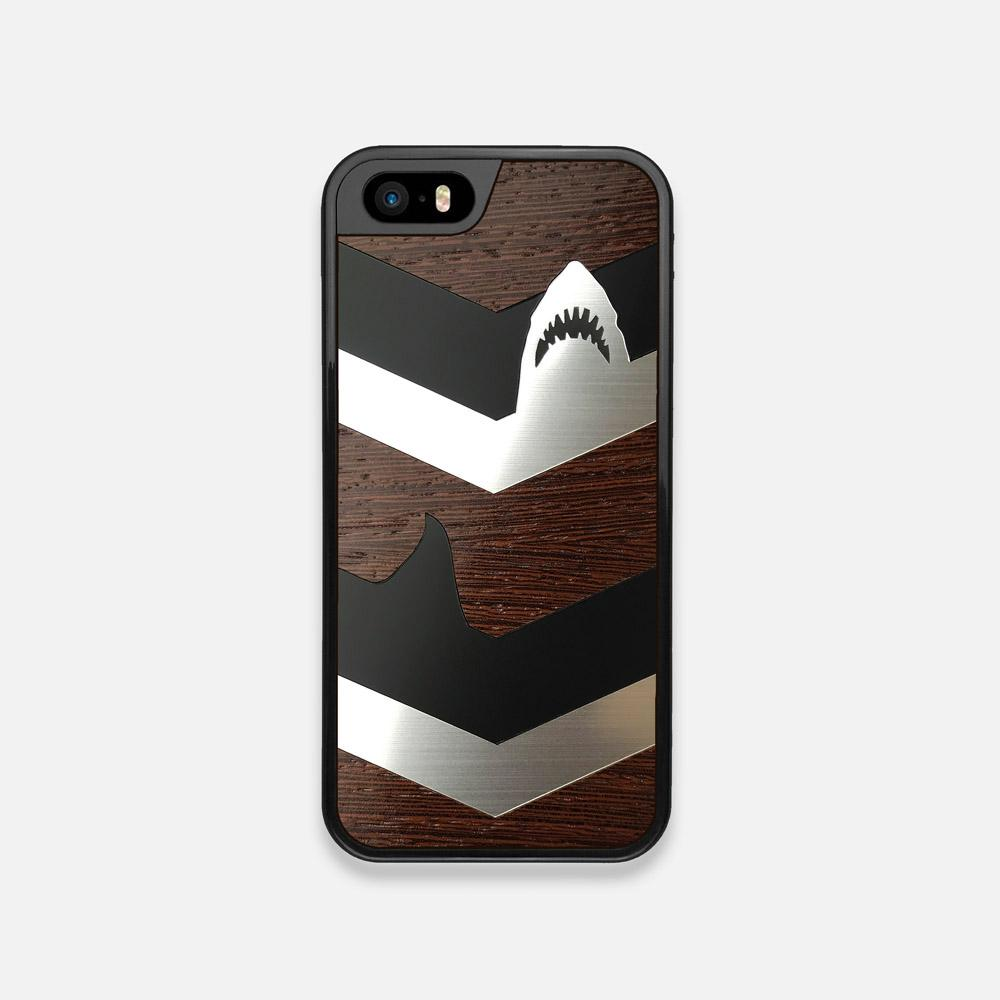 Front view of the Shark Chevron Dark By Parker Barrow Wenge Wood iPhone 5 Case by Keyway Designs