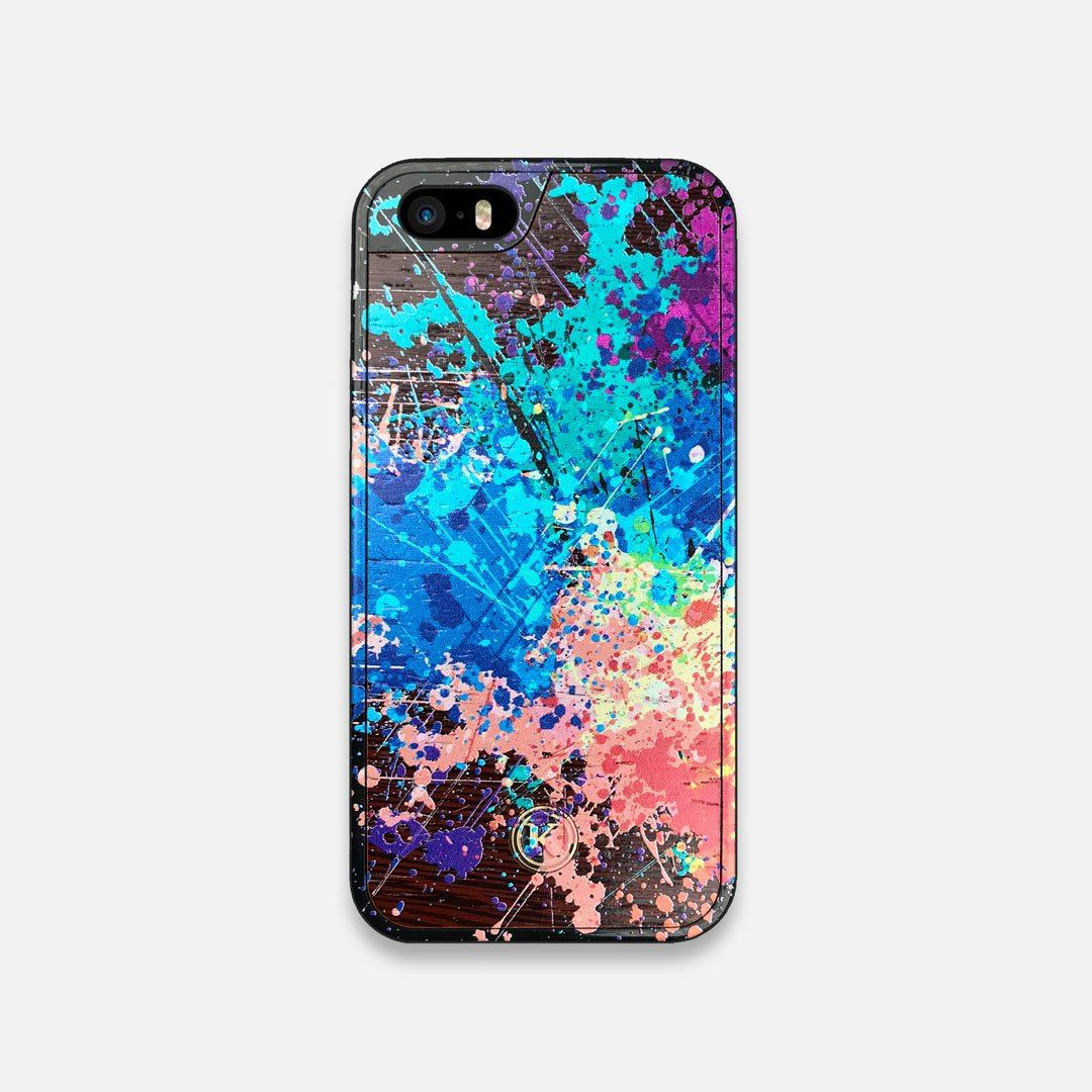 Front view of the realistic paint splatter 'Chroma' printed Wenge Wood iPhone 5 Case by Keyway Designs