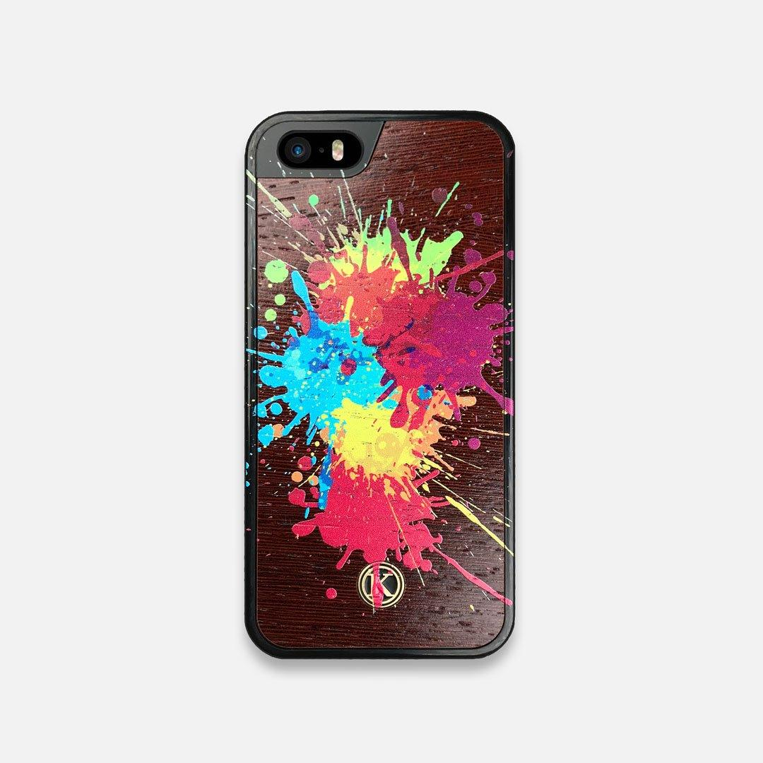 Front view of the illustration-style paint drops printed Wenge Wood iPhone 5 Case by Keyway Designs