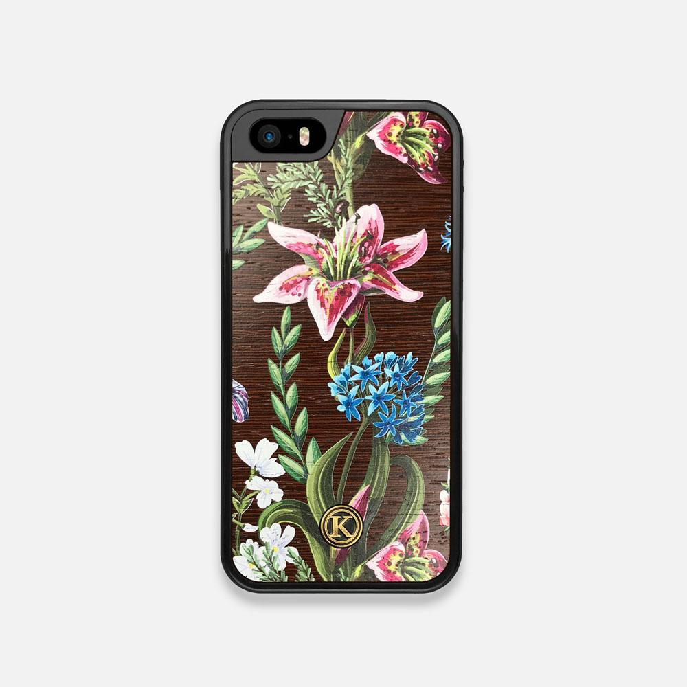 Front view of the Stargazer Lily printed Wenge Wood iPhone 5 Case by Keyway Designs