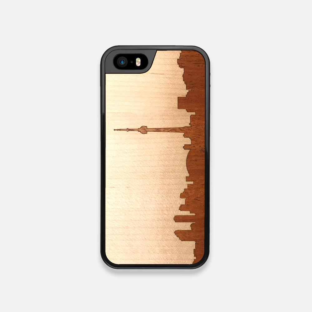 Front view of the Toronto Skyline Maple Wood iPhone 5 Case by Keyway Designs