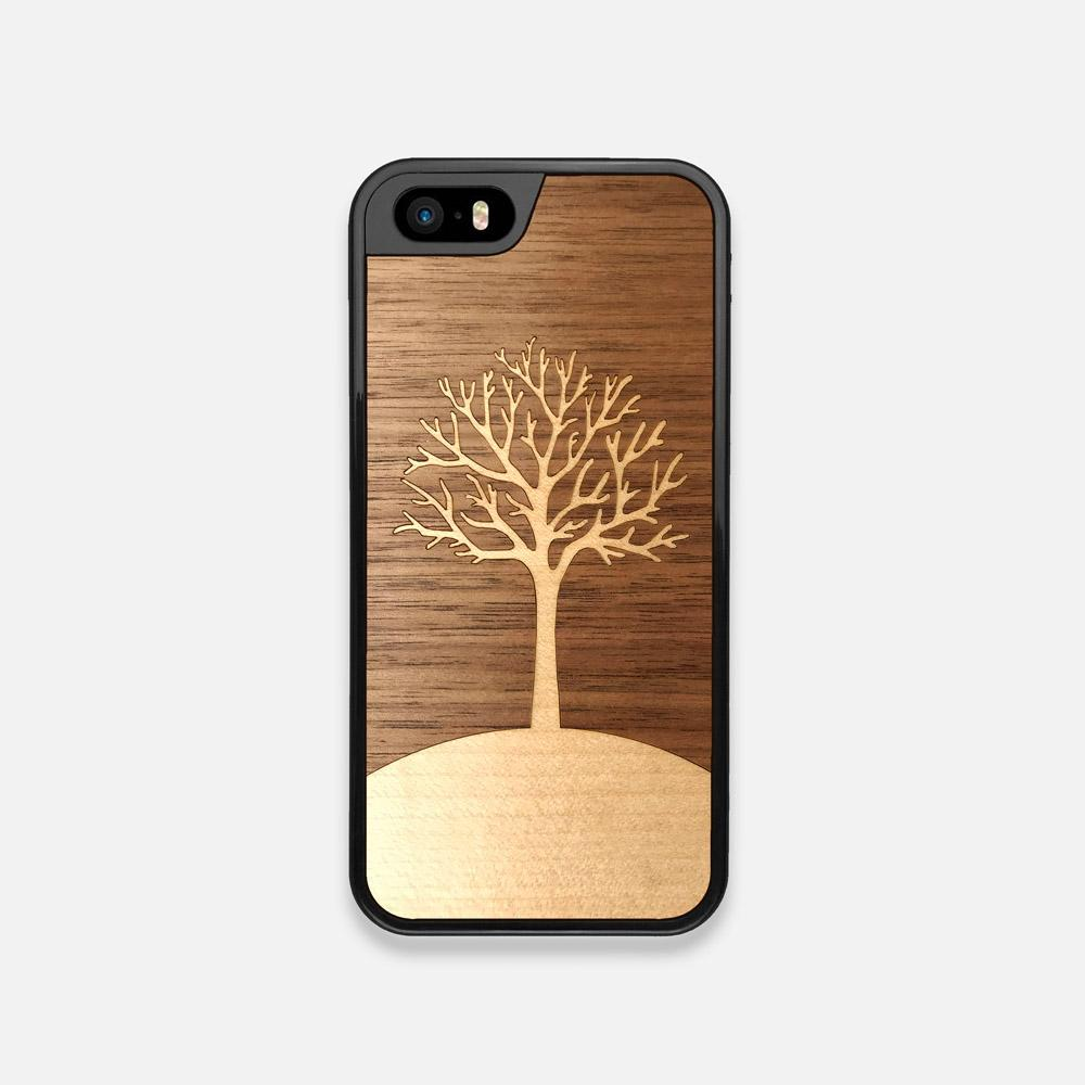 Front view of the Tree Of Life Walnut Wood iPhone 5 Case by Keyway Designs