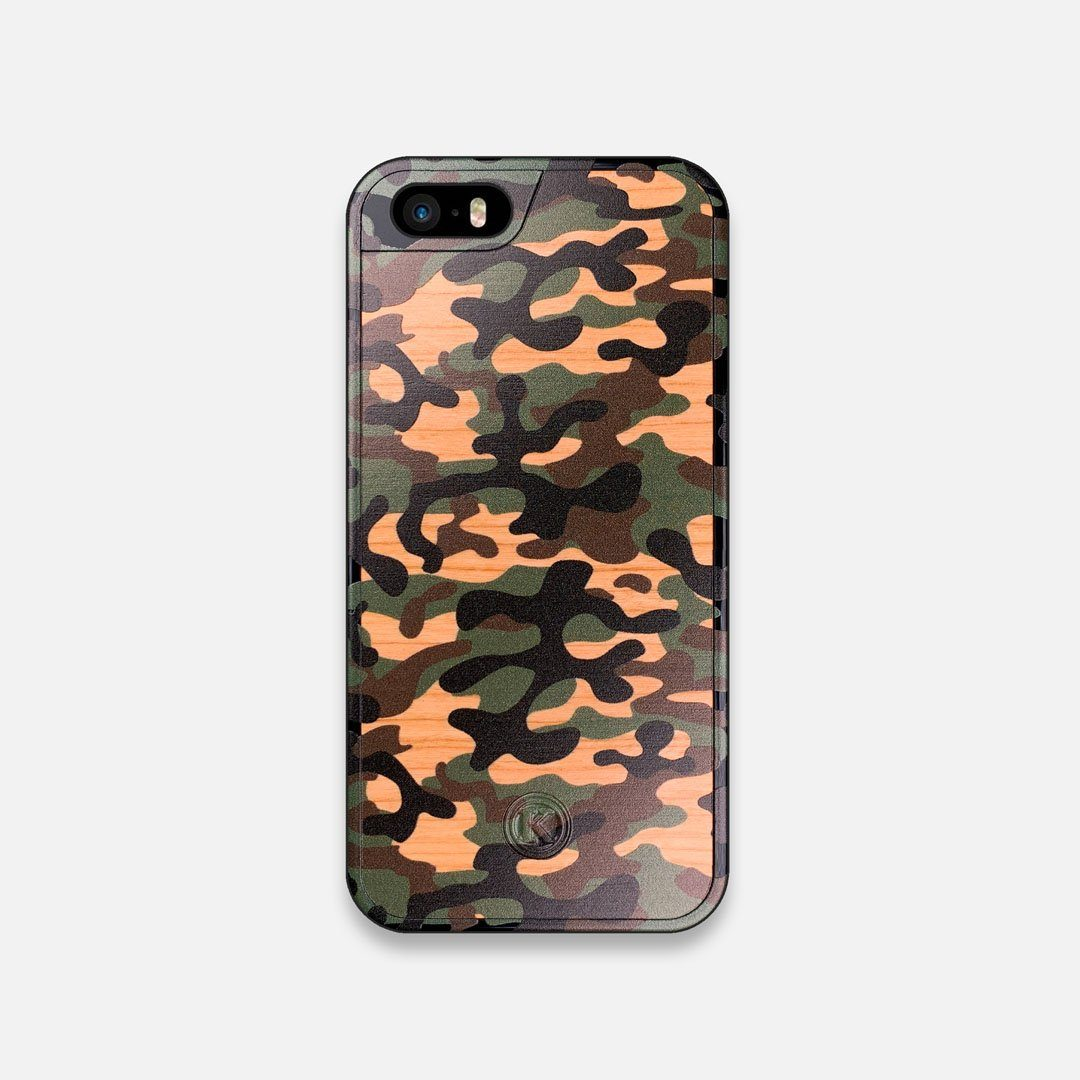 Front view of the stealth Paratrooper camo printed Wenge Wood iPhone 5 Case by Keyway Designs