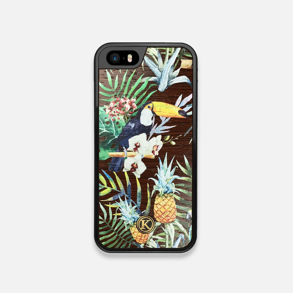 Front view of the Tropic Toucan and leaf printed Wenge Wood iPhone 5 Case by Keyway Designs