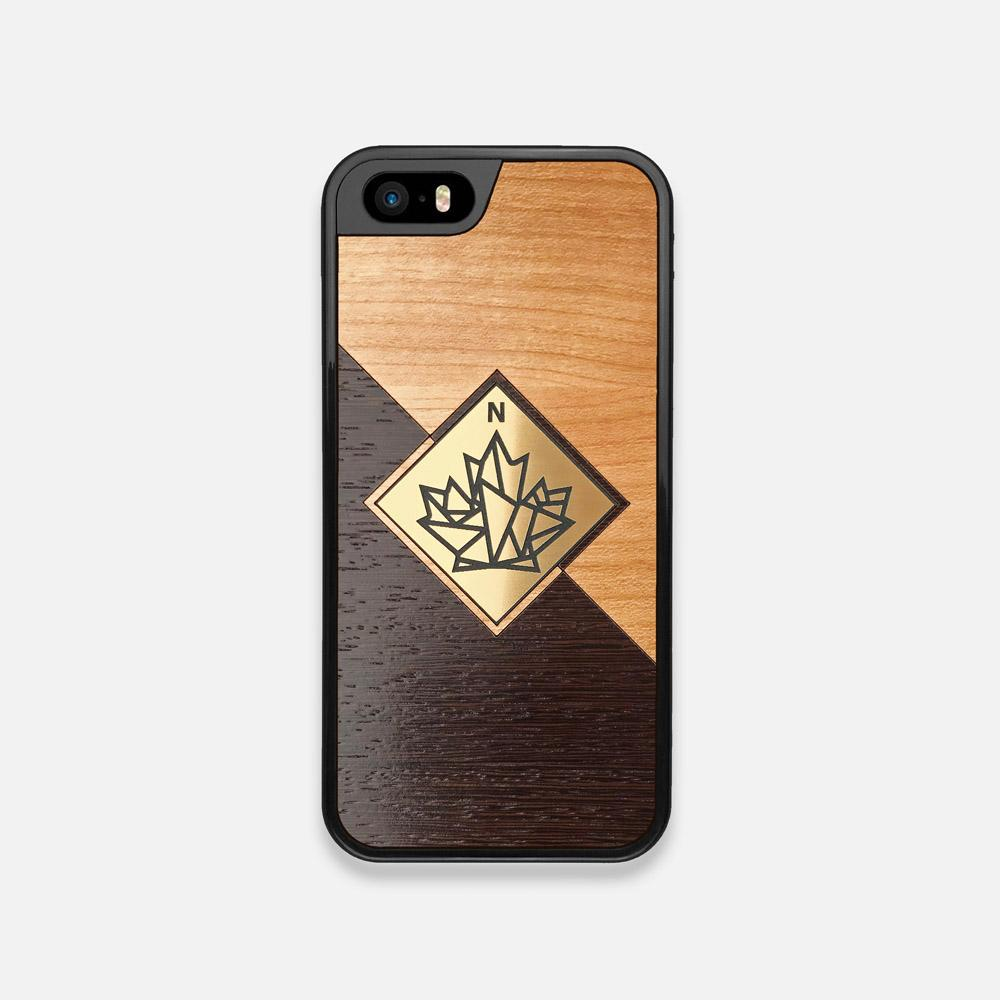 Front view of the True North by Northern Philosophy Cherry & Wenge Wood iPhone 5 Case by Keyway Designs