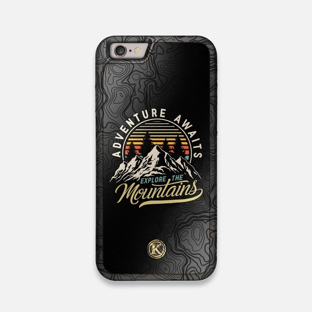 Front view of the crisp topographical map with Explorer badge printed on matte black impact acrylic iPhone 6 Case by Keyway Designs