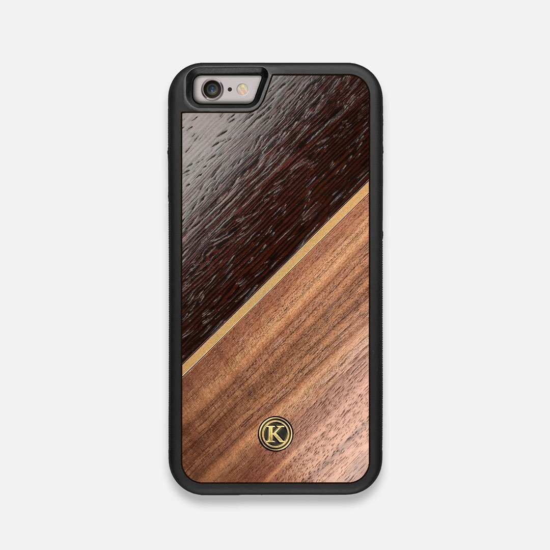 Front view of the Alium Walnut, Gold, and Wenge Elegant Wood iPhone 6 Case by Keyway Designs
