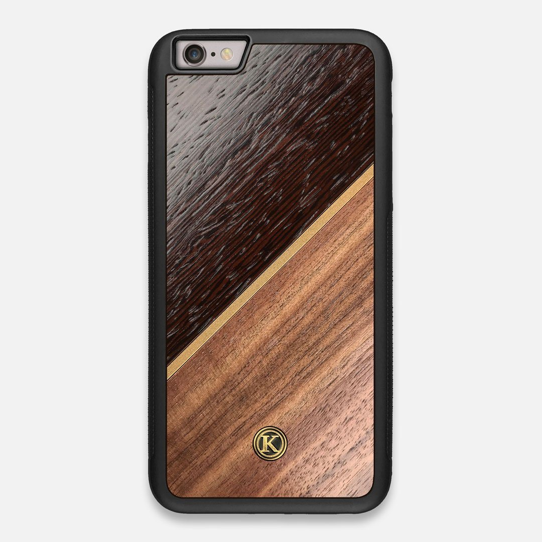 Front view of the Alium Walnut, Gold, and Wenge Elegant Wood iPhone 6 Plus Case by Keyway Designs