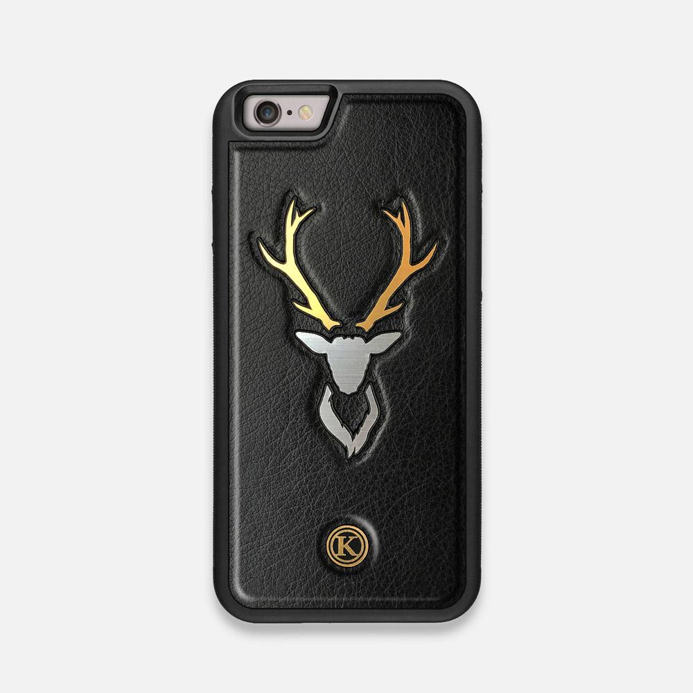 Front view of the Arcan Black Leather iPhone 6 Case by Keyway Designs