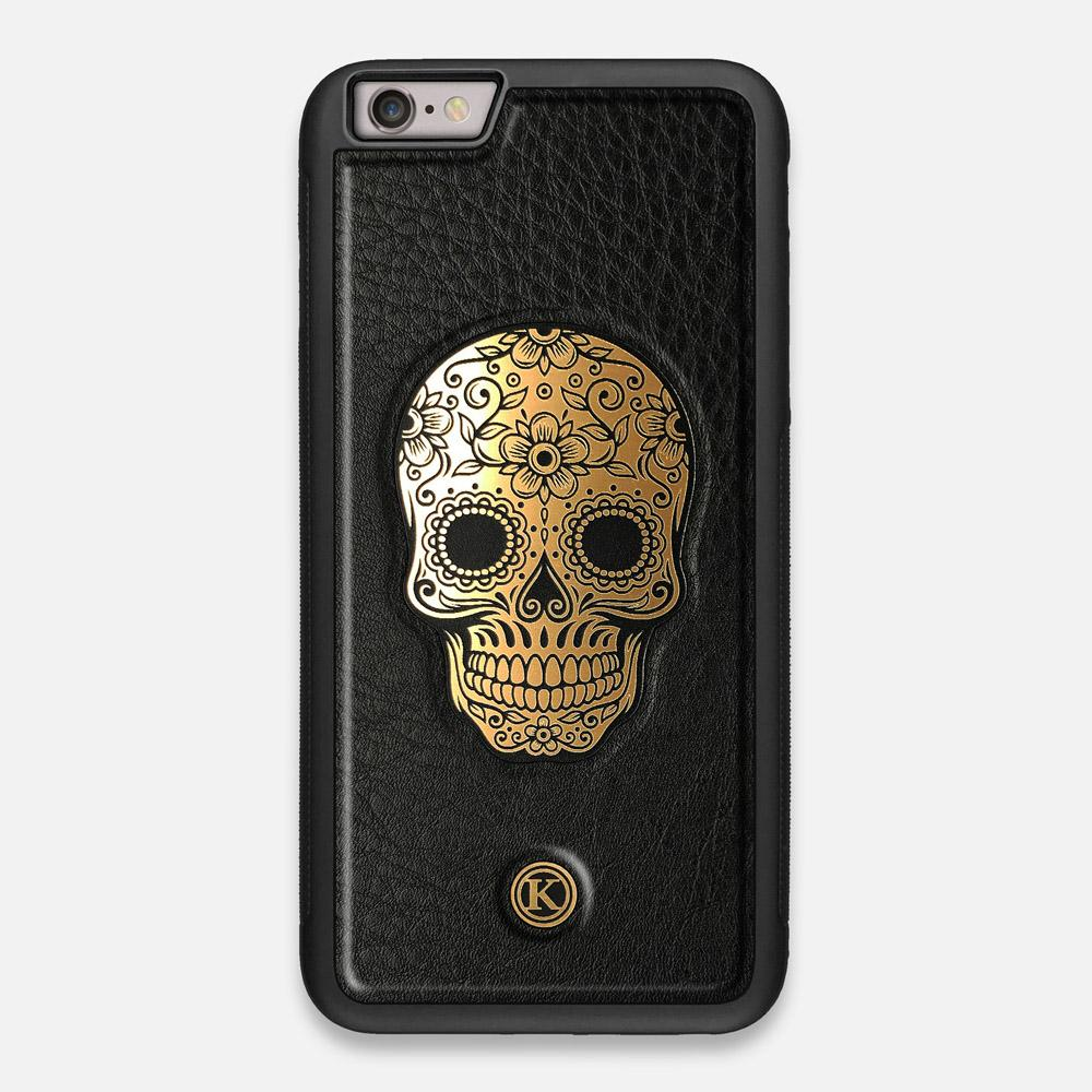 Front view of the Auric Black Leather iPhone 6 Plus Case by Keyway Designs