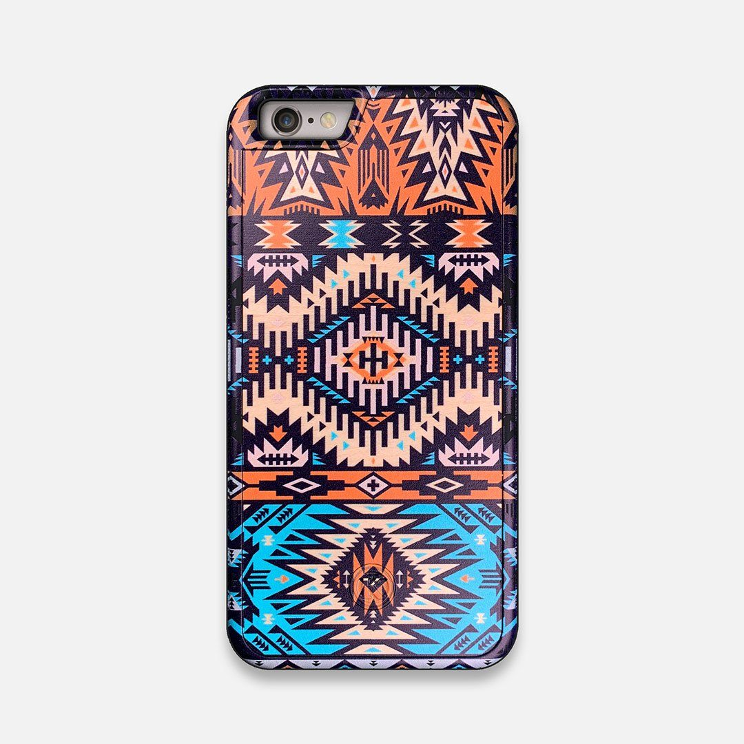 Front view of the vibrant Aztec printed Maple Wood iPhone 6 Case by Keyway Designs