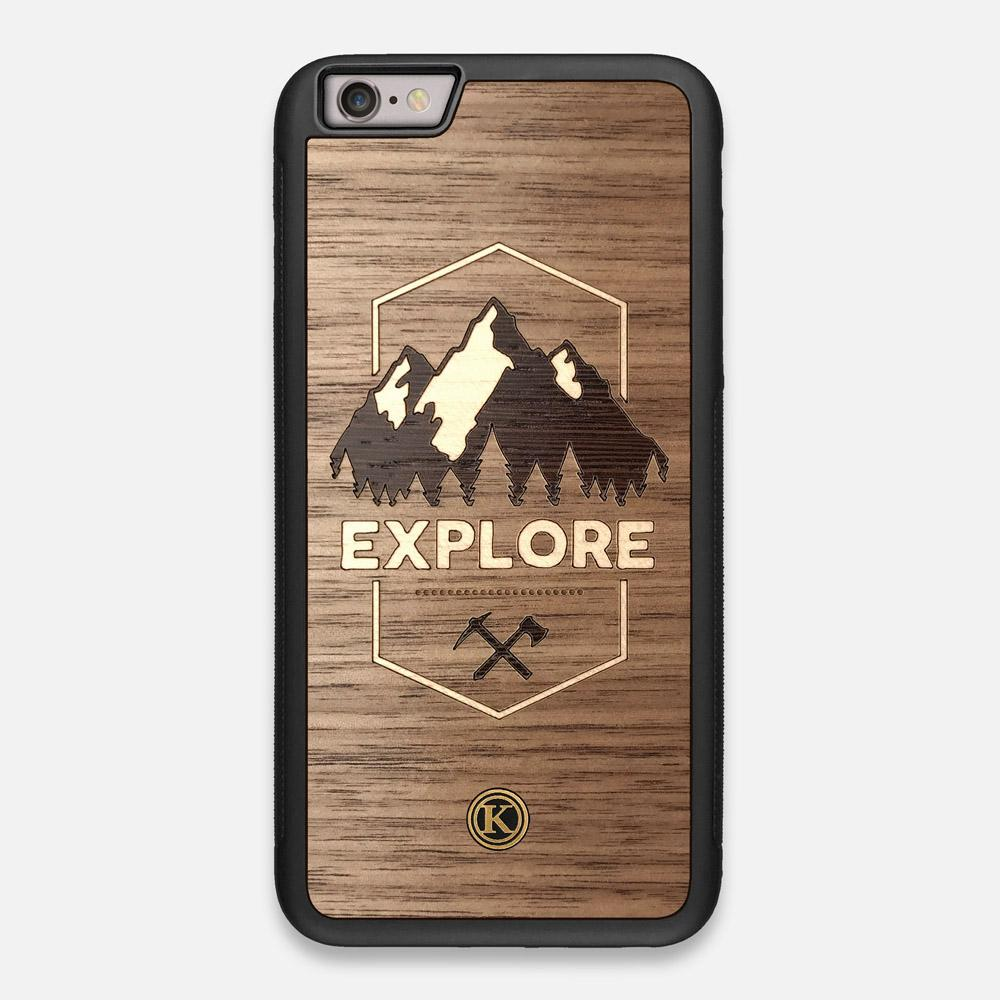 Front view of the Explore Mountain Range Wood iPhone 6 Plus Case by Keyway Designs