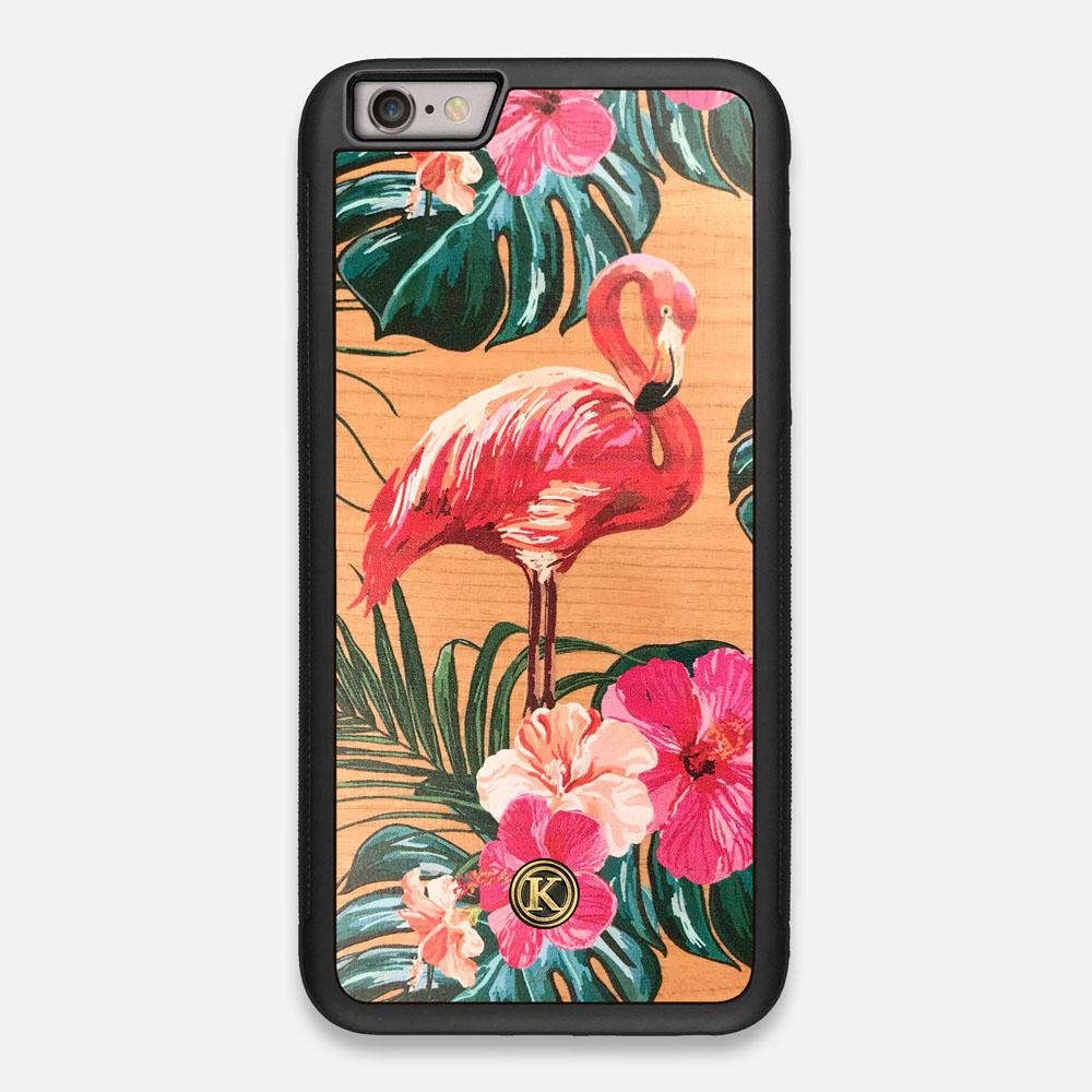 Front view of the Flamingo & Floral printed Cherry Wood iPhone 6 Plus Case by Keyway Designs