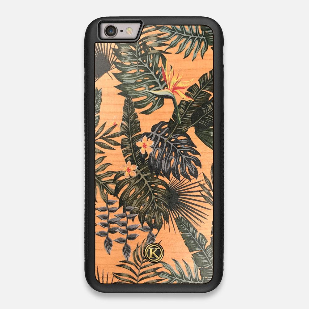 Front view of the Floral tropical leaf printed Cherry Wood iPhone 6 Plus Case by Keyway Designs