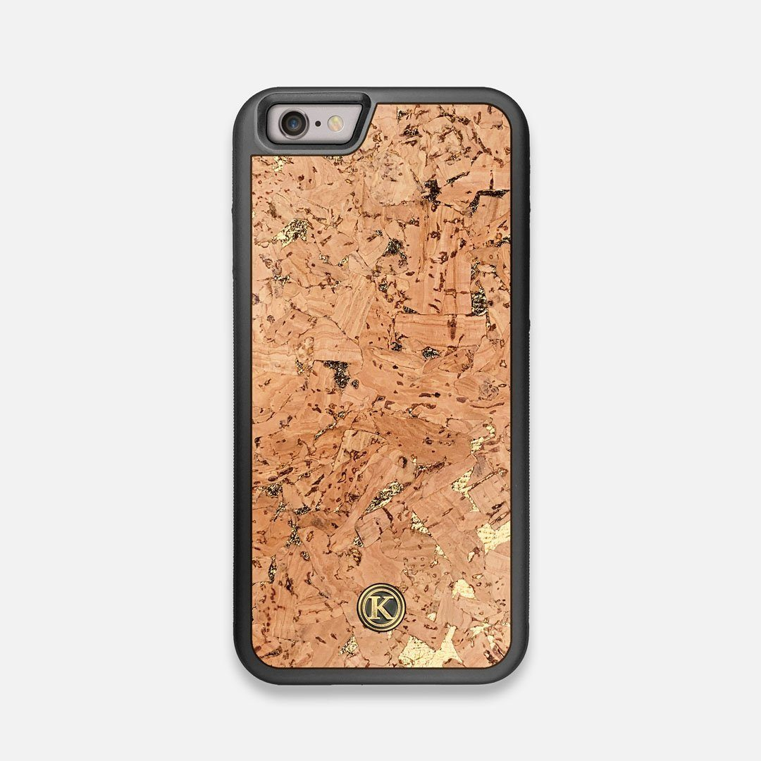 Front view of the gold fleck natural cork iPhone 6 Case by Keyway Designs