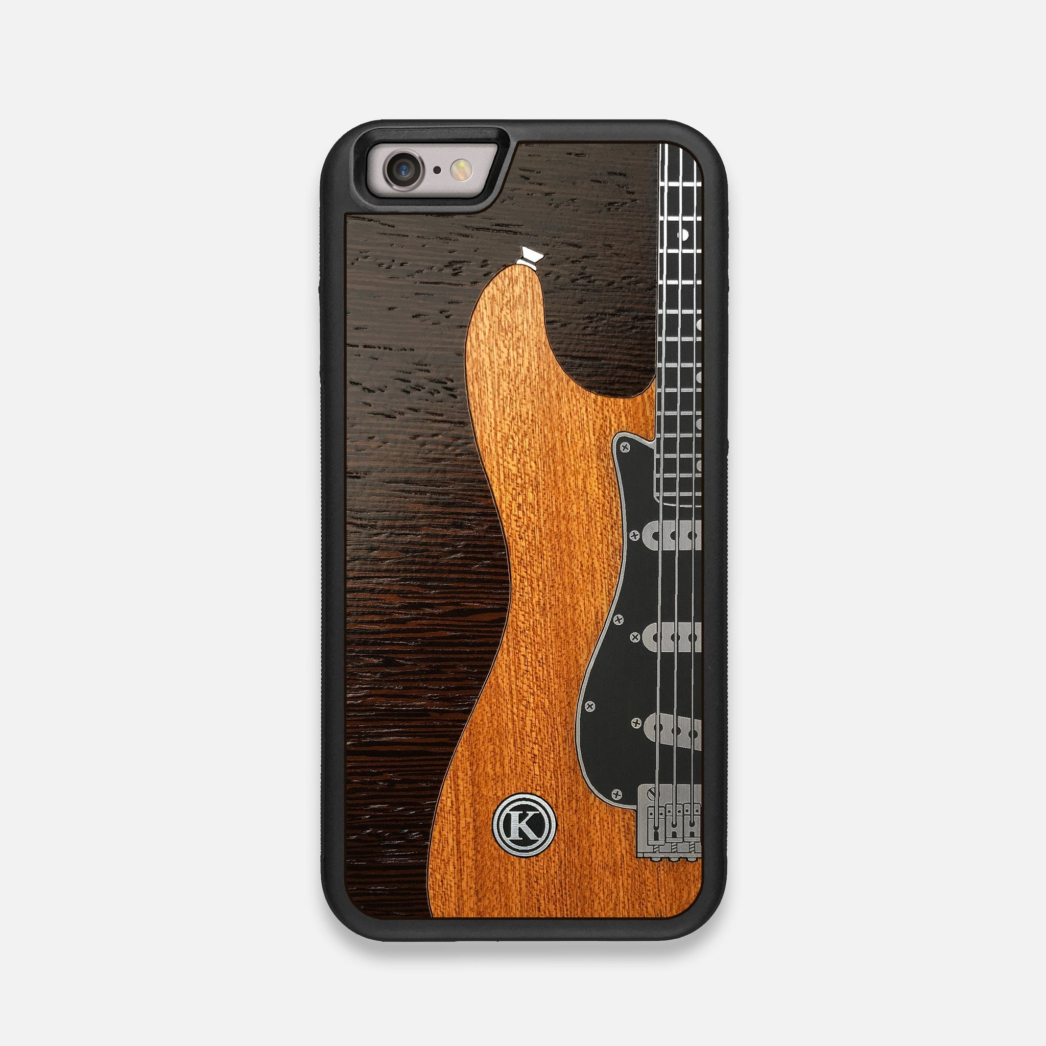 Front view of the Reverb Guitar Wood and Metallic  iPhone 6 Case by Keyway Designs