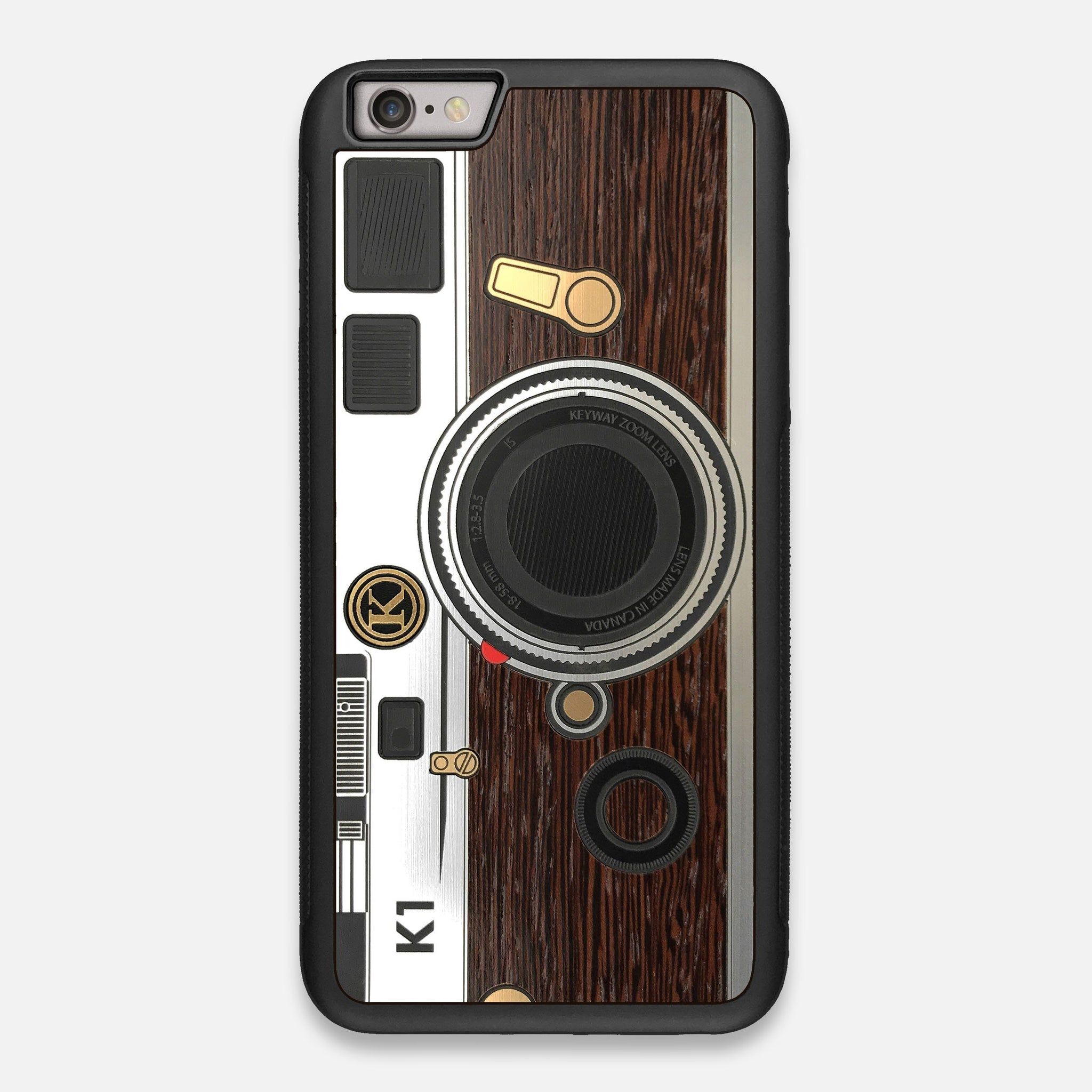Front view of the classic Camera, silver metallic and wood iPhone 6 Plus Case by Keyway Designs