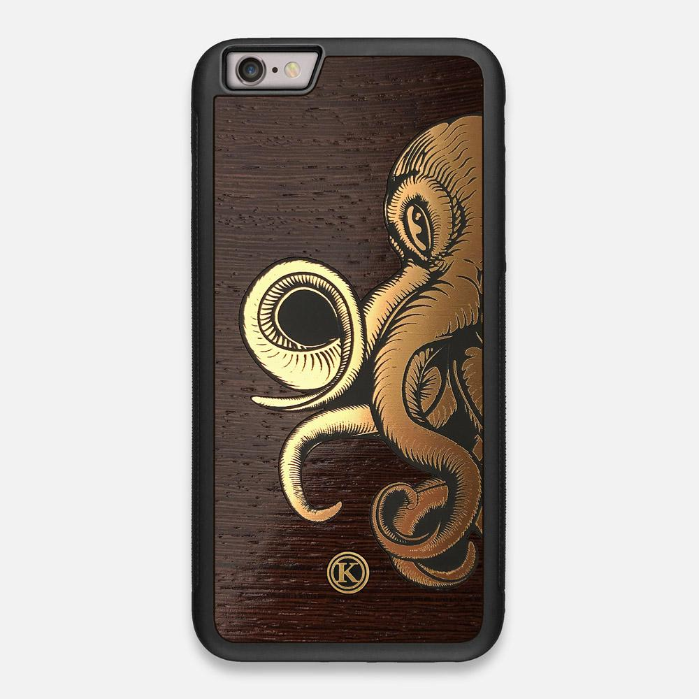 Front view of the Kraken 2.0 Wenge Wood iPhone 6 Plus Case by Keyway Designs