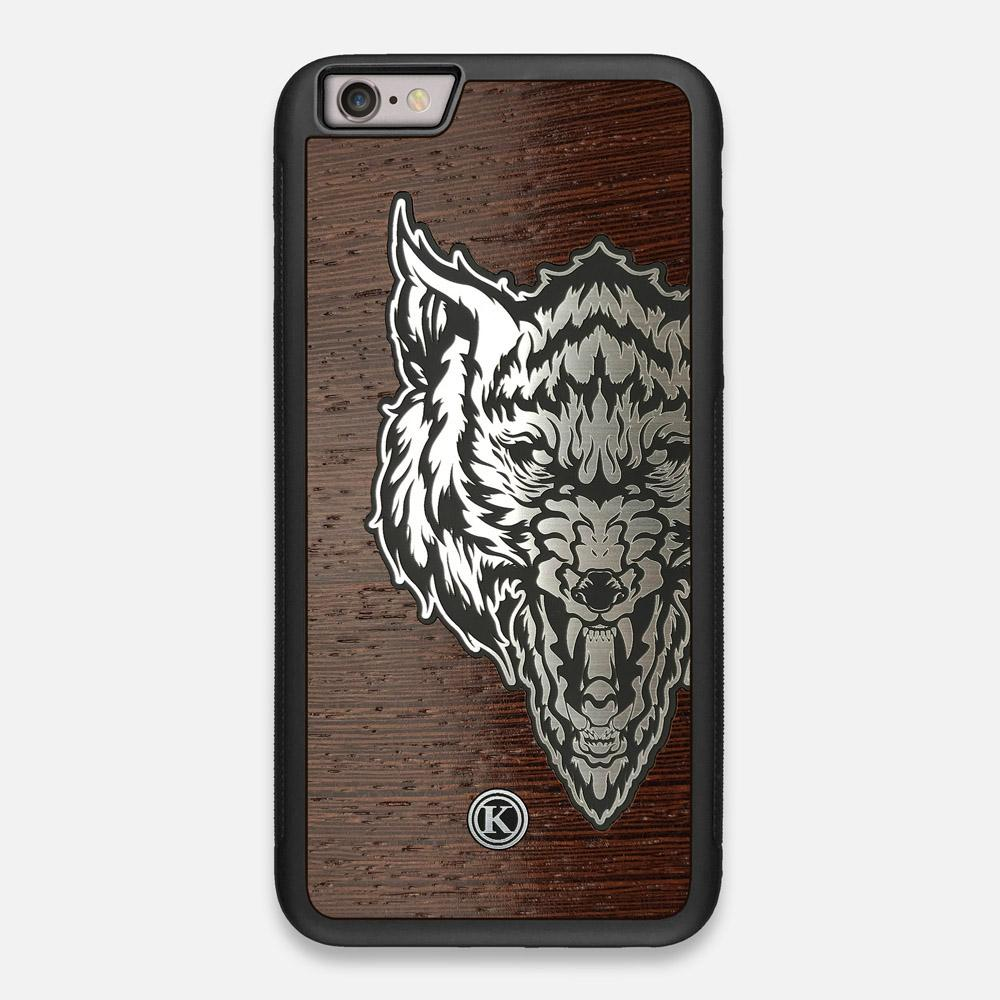 Front view of the Lobo Dark By Orozco Design Wenge Wood iPhone 6 Plus Case by Keyway Designs