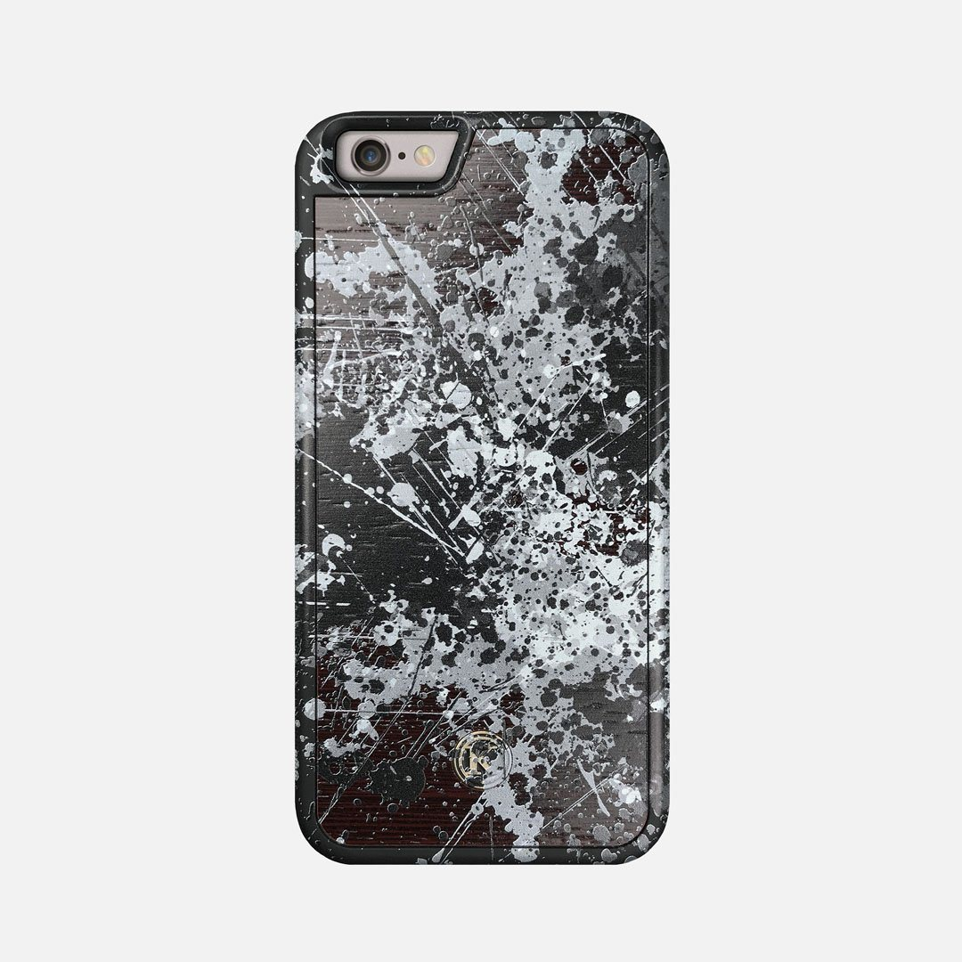 Front view of the aggressive, monochromatic splatter pattern overprintedprinted Wenge Wood iPhone 6 Case by Keyway Designs