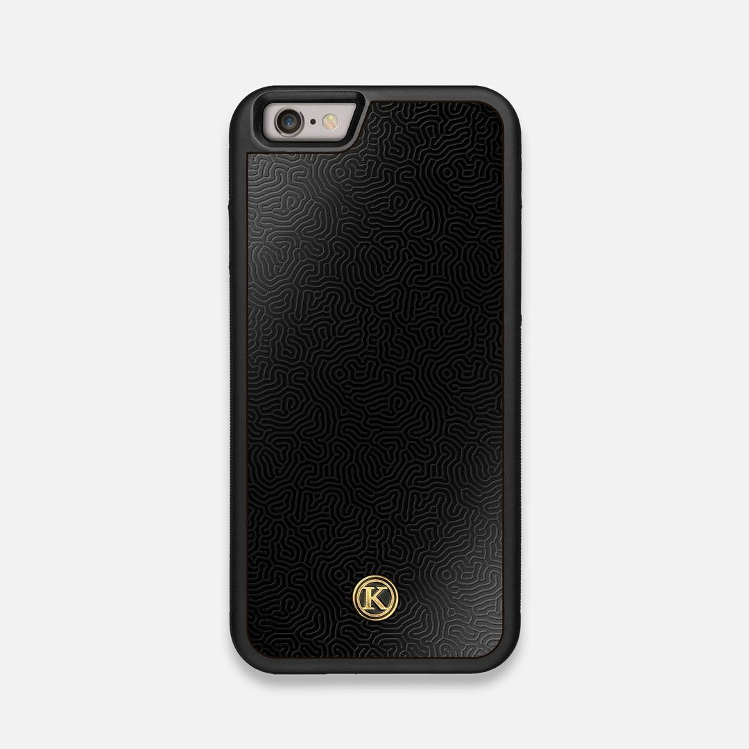 Front view of the highly detailed organic growth engraving on matte black impact acrylic iPhone 6 Case by Keyway Designs