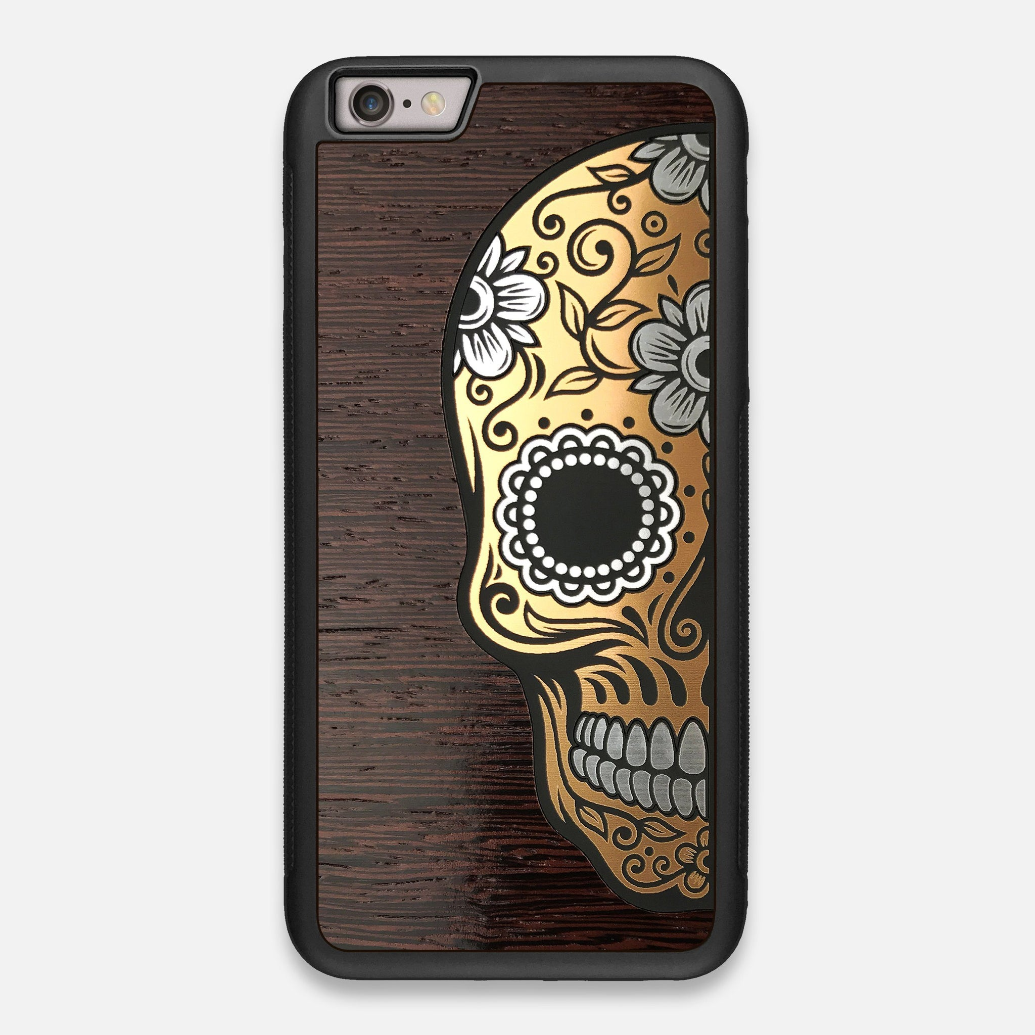 Front view of the Calavera Wood Sugar Skull Wood iPhone 6 Plus Case by Keyway Designs