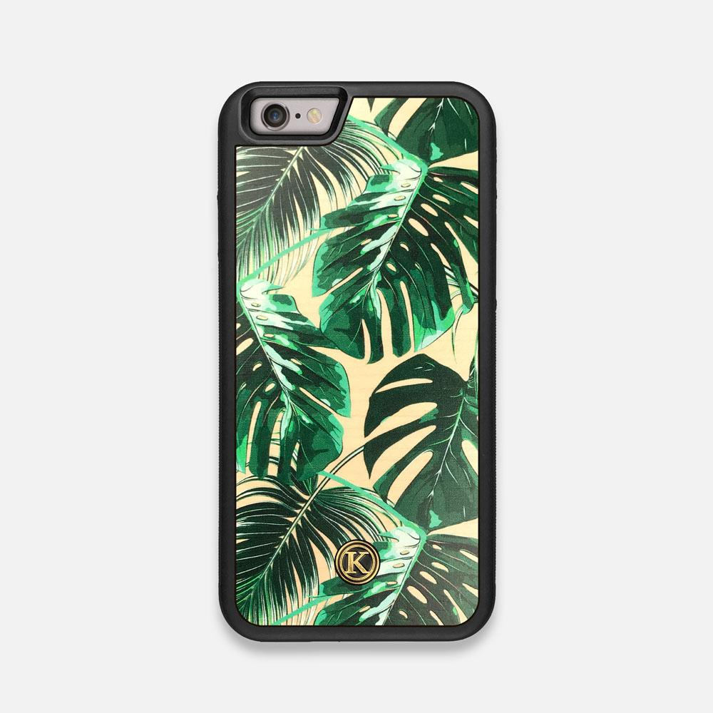Front view of the Palm leaf printed Maple Wood iPhone 6 Case by Keyway Designs