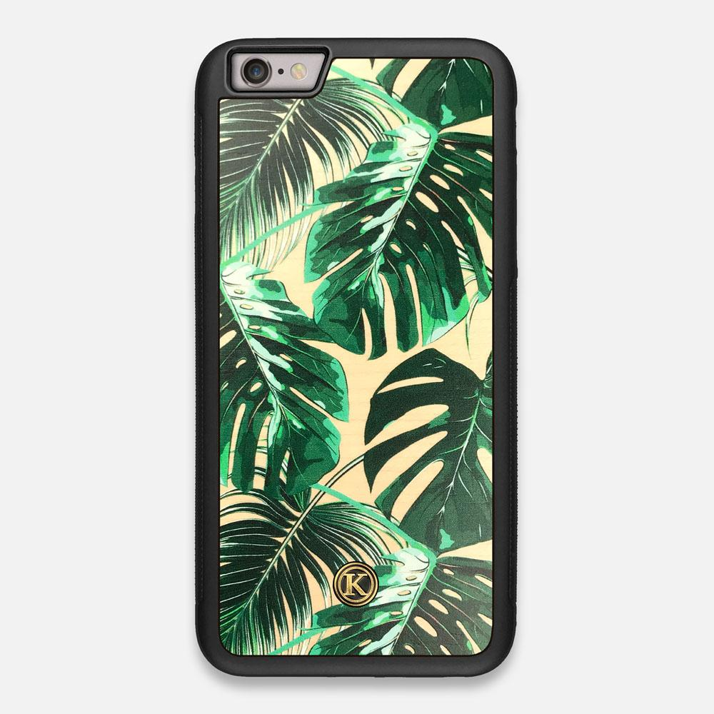 Front view of the Palm leaf printed Maple Wood iPhone 6 Plus Case by Keyway Designs