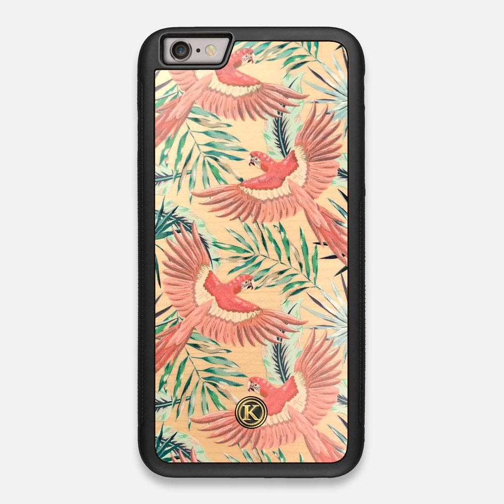 Front view of the Paradise Macaw and Tropical Leaf printed Maple Wood iPhone 6 Plus Case by Keyway Designs