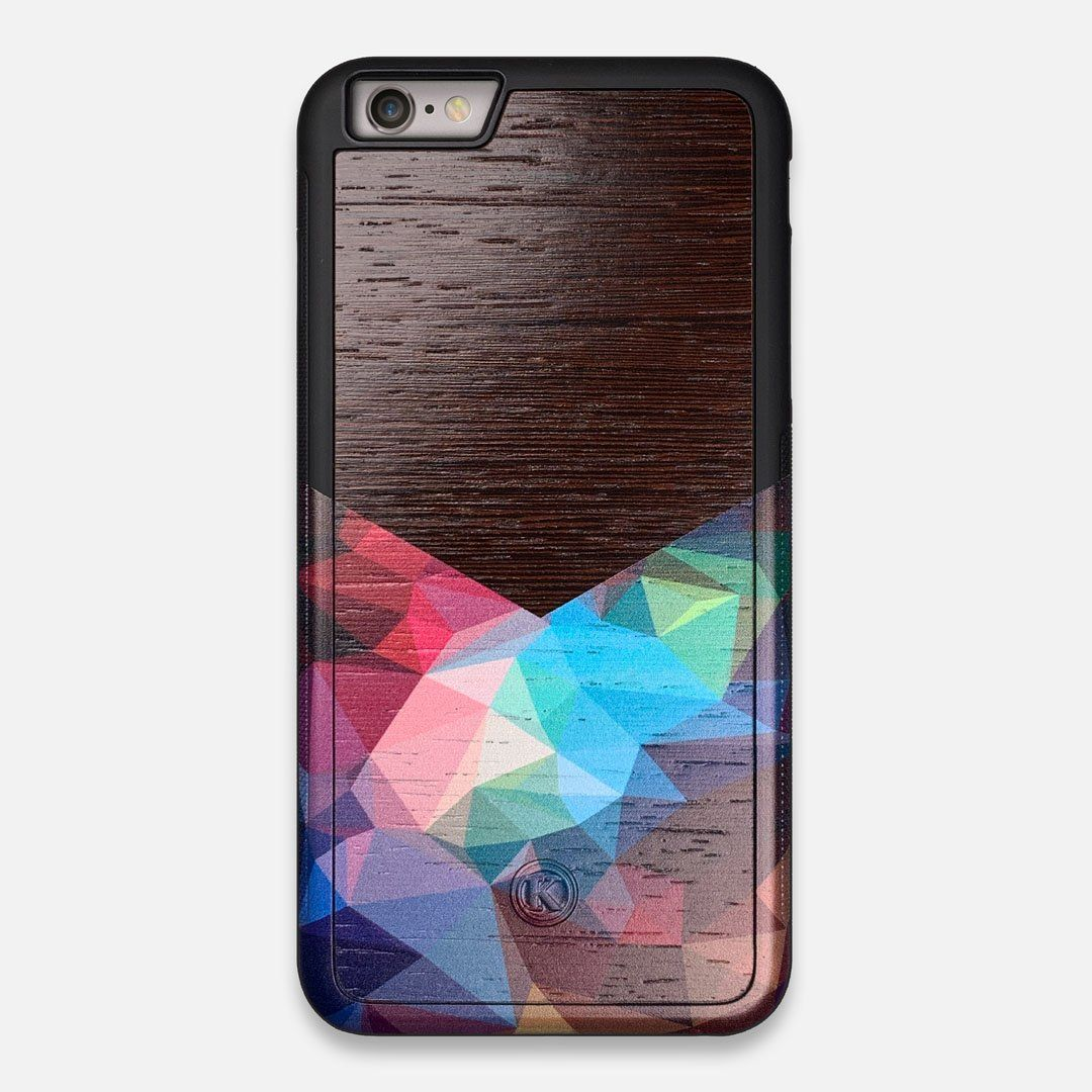 Front view of the vibrant Geometric Gradient printed Wenge Wood iPhone 6 Plus Case by Keyway Designs